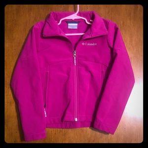 Columbia girls 6/6x magenta fleece lined jacket